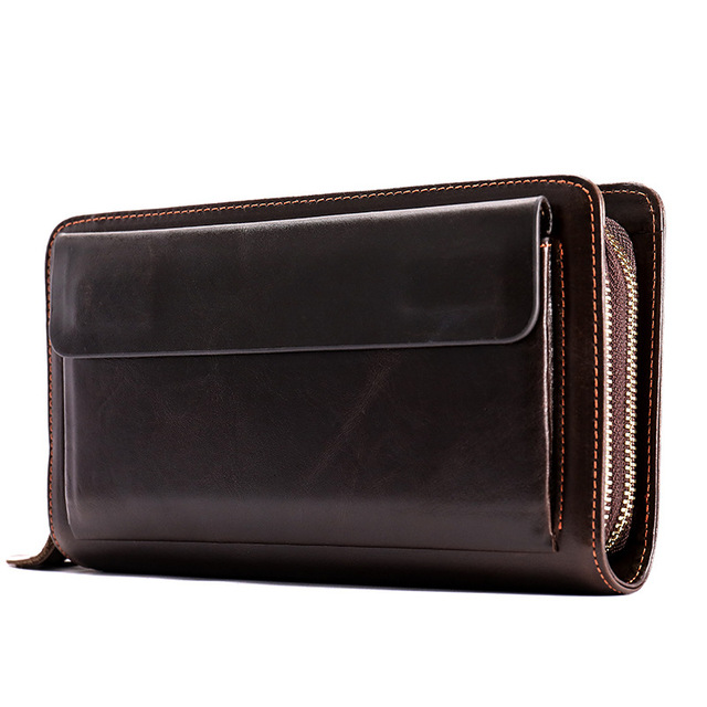Korean version of the new leather men wallets in the long section large capacity zip around wallet first layer leather clutch