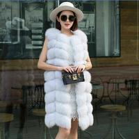 2019 роскошные женские куртки из искусственного меха, новая зимняя куртка, меховая жилетка, пальто из искусственного меха лисы, Длинный Мехов