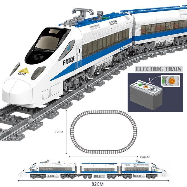 Kazi 98227 gbl bateria alimentado trem elétrico de alta velocidade ferroviário diy blocos de construção 474 pçs tijolos presente brinquedos para crianças brinquedo
