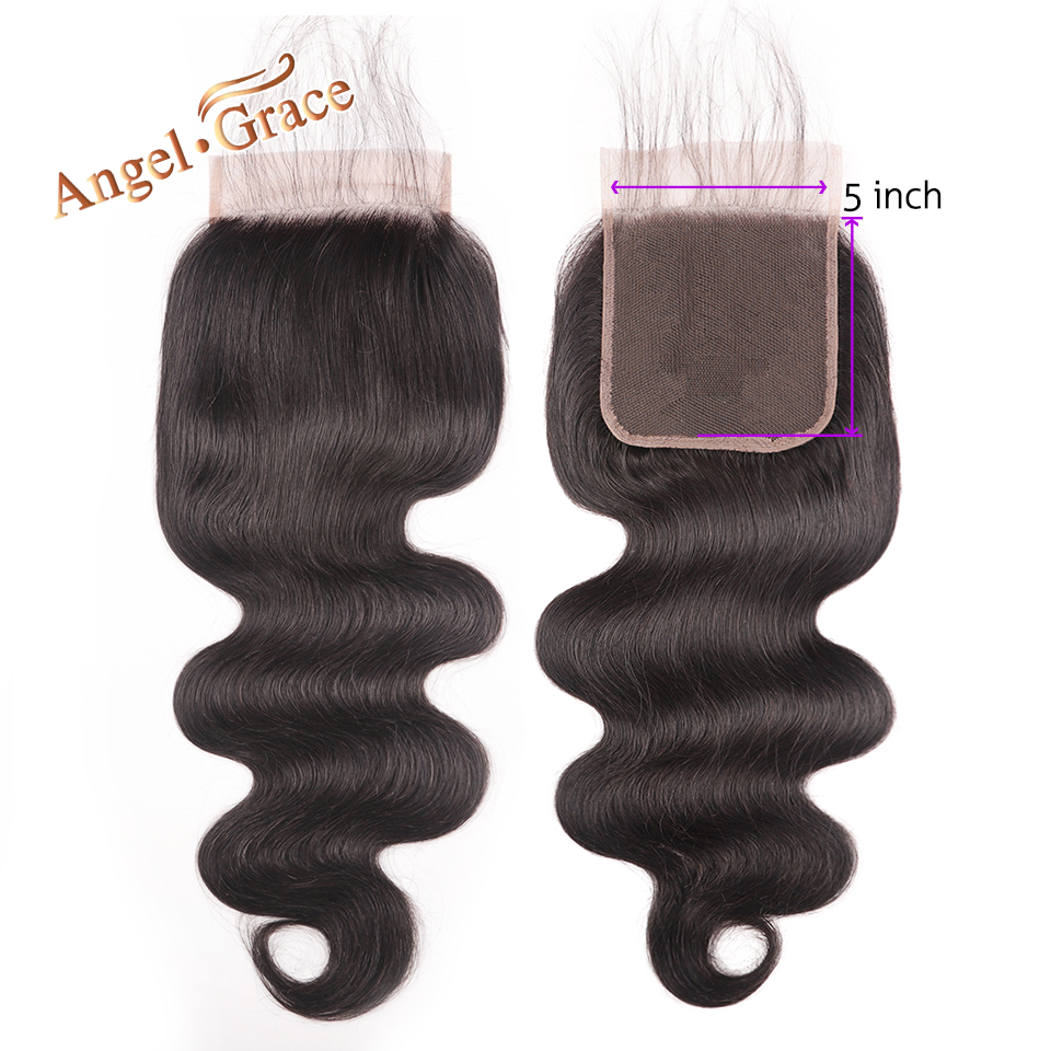 5x5 Body Wave Lace Closure Free Middle Part Brazilian Human Hair Natural Color Remy Hair Lace