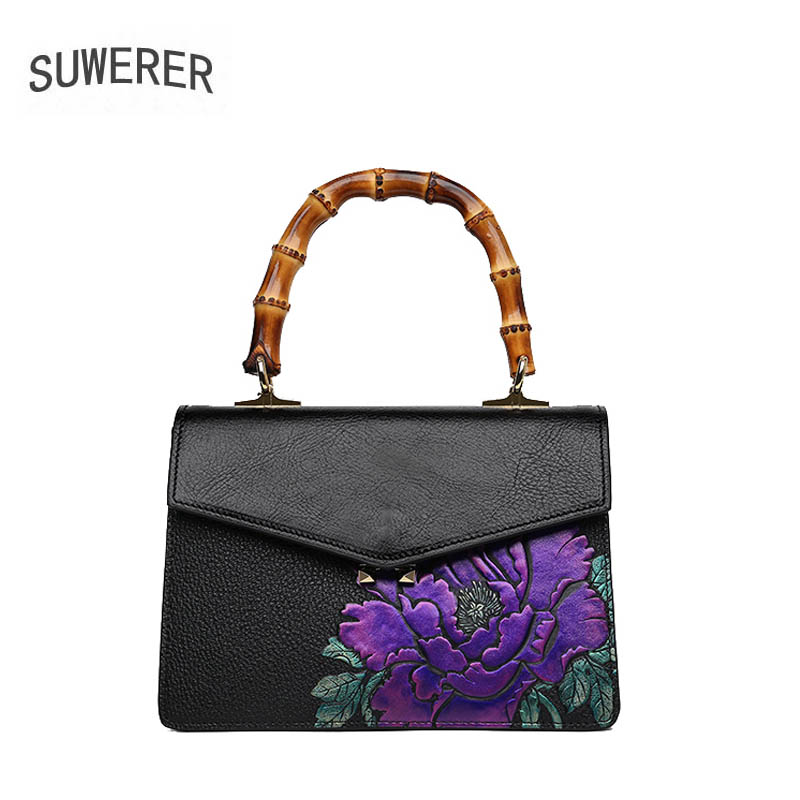 SUWERER 2018 New women genuine leather bag Handmade Embossing flower fashion cowhide handbags tote women leather shoulder bags new 100% handmade woven leather handbags tote women shoulder bags with detachable zipper pouch