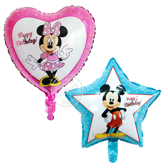 50pcs Lot 4545cm Star Mickey Minnie Helium Balloons Party Decoration Inflatable Balls Happy Birthday Kids Toy