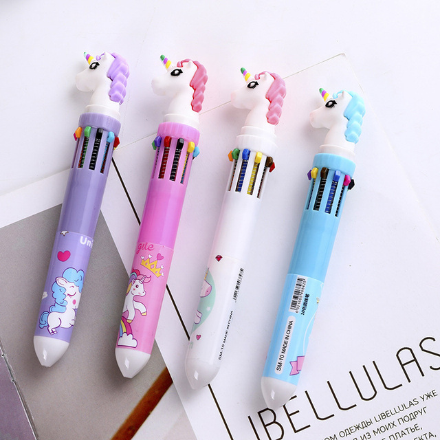 1PC Cute Unicorn Ballpoint Pens 10 Colors In 1 Pens Kawaii Multicolor Ball Pens For Kids Gift School Office Supplies Stationery 1