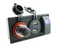 DC12V 24V 4 2A Double USB Port Voltmeter Power Cigarette Socket With Rocker Switch Holder Housing