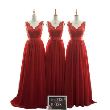 Newest Red Color V-Neck A-Line Lace Applique Chiffon Bridesmaid Dresses Cheap Court Train Red Chiffon Lace Bridesmaid Gowns фото