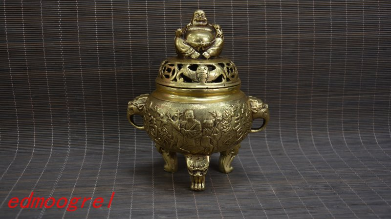 Antique Old MingDynasty copper censer, hand-carved crafts,best collection&adornment,free shippingAntique Old MingDynasty copper censer, hand-carved crafts,best collection&adornment,free shipping