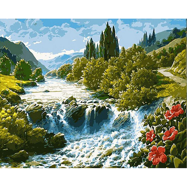 oil painting by numbers diy picture waterfall drawing on