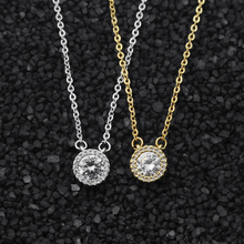 10pcs Fashion Inlay CZ Crystal Pendant Necklaces Diamante Round Circle Necklace For Girls Women Engagement Statement Jewelry