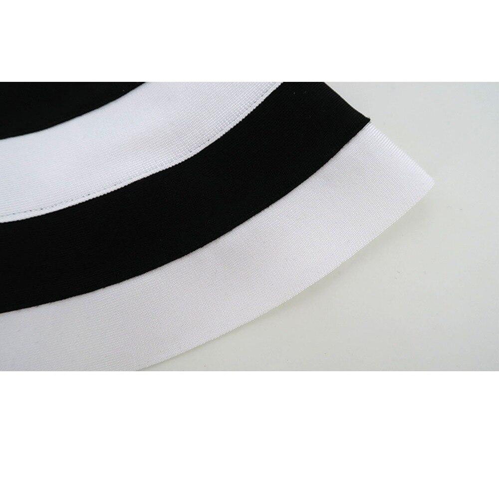 Moulante Automne Femmes Robes Gaine Celebrity Rayé Blanc Robe Nouvelle Noir Club Arrivée Soirée Bandage Bretelles wT5OOE