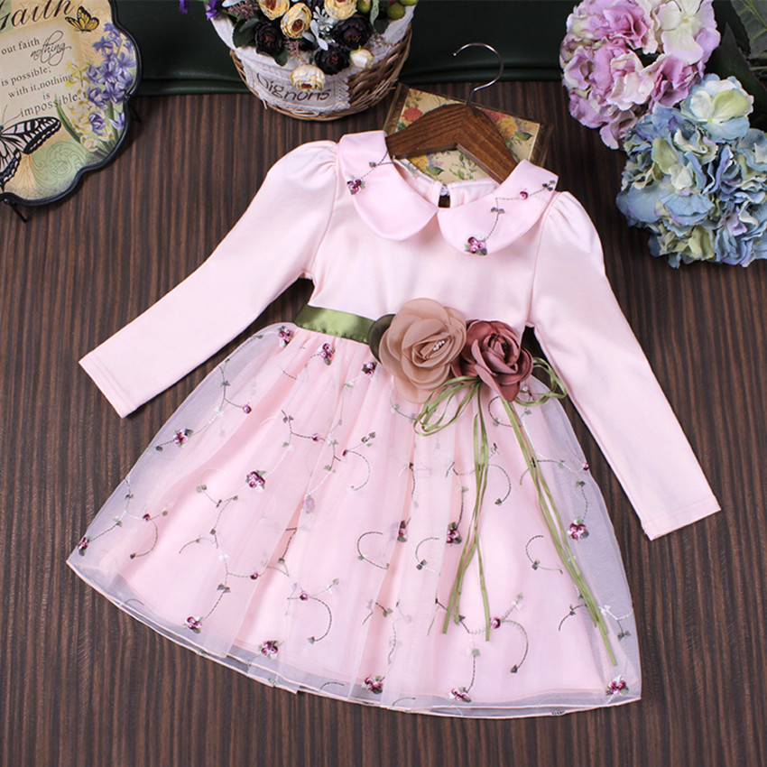 Girl Party Dress Wedding Birthday Girls Dresses Ball Gown Princess Two Flowers Embroidery Peter Pan Collar Clothes children 3-9T baby girl baptism dress sleeveless flowers wedding vestido infants girls clothes princess dresses 3 10 year birthday party dress