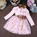 Menina Vestido de Festa de Aniversário de Casamento Meninas Vestidos de Baile Princesa Duas Flores Bordado Gola Peter Pan Roupas crianças 3-9 T