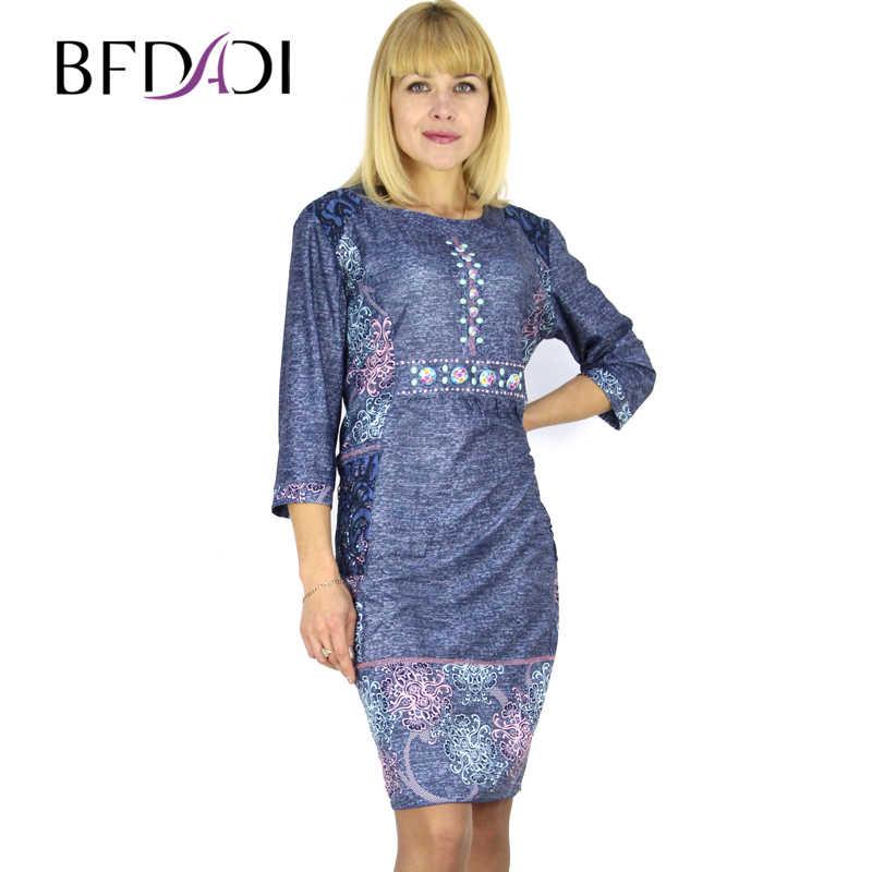 2dbb09df78e BFDADI 2016 летом модеое ретро отпечатано 3 4 рукав с о-образным шеи платье