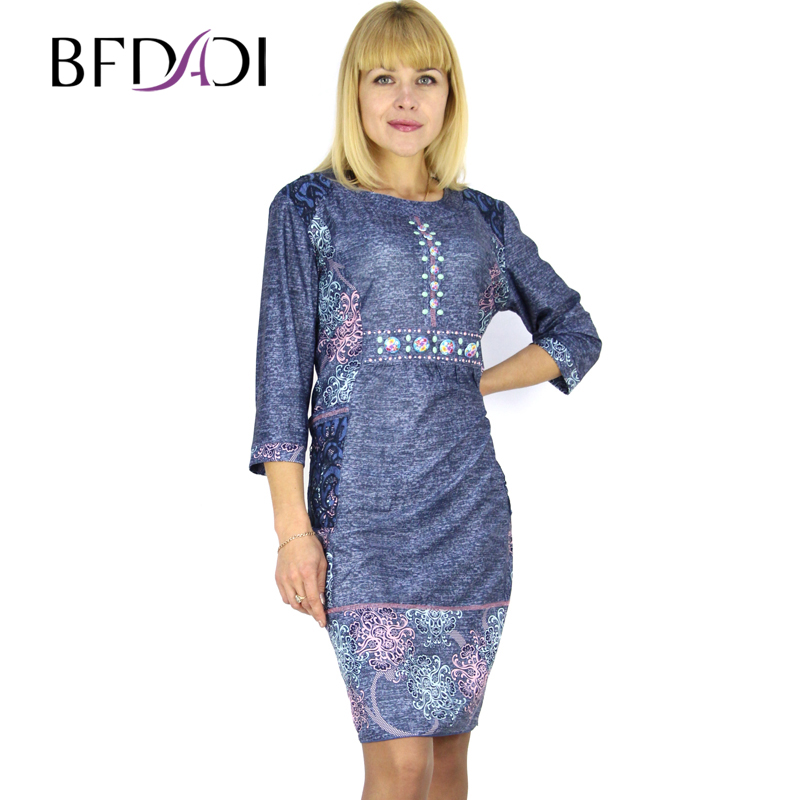 BFDADI 2016 Summer Retro Printed 3/4 Sleeve O-neck Dress For Women Openwork Lace Pocket Dresses XL-6XL Big Size Dress 7-35772