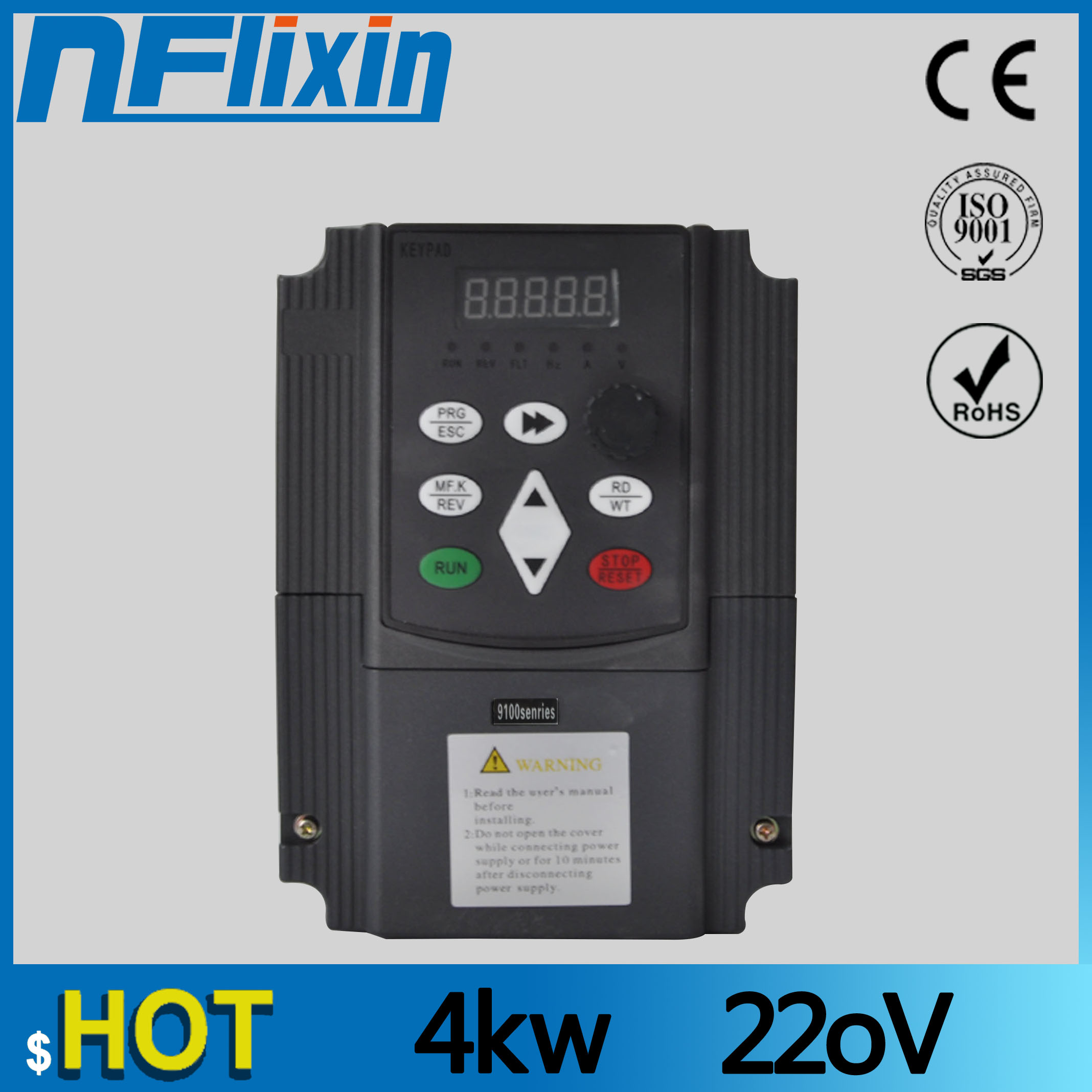 220V spindle motor drive variable frequency converter VFD vector control inverter 4kw