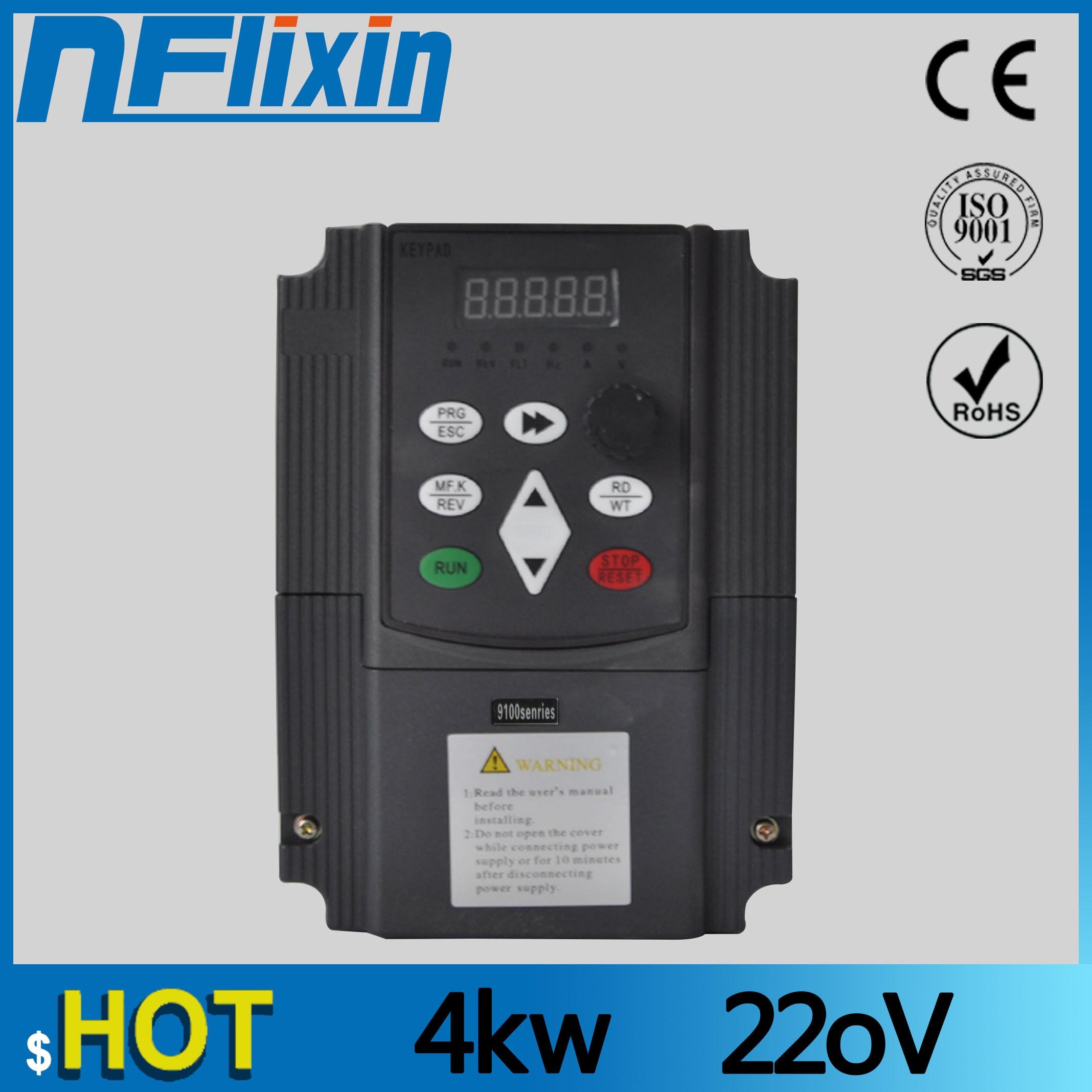 Convertisseur de fréquence Variable d'inverseur de fréquence de 220 V 4KW pour les onduleurs de moteur de pompe à eau 1 entrée de phase pilote à ca de 3 phases VF