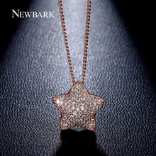 NEWBARK Dainty Rose Gold Color Necklaces Star Pendant Charms Full Zirconia Crystal Stone Women Everyday Jewellery