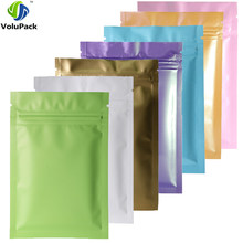 Various Colors 100pcs Heat Sealing Ziplock Pouches Tear Notch Metallic Mylar Flat Zip Lock Package Bag For Herb Powder(China)
