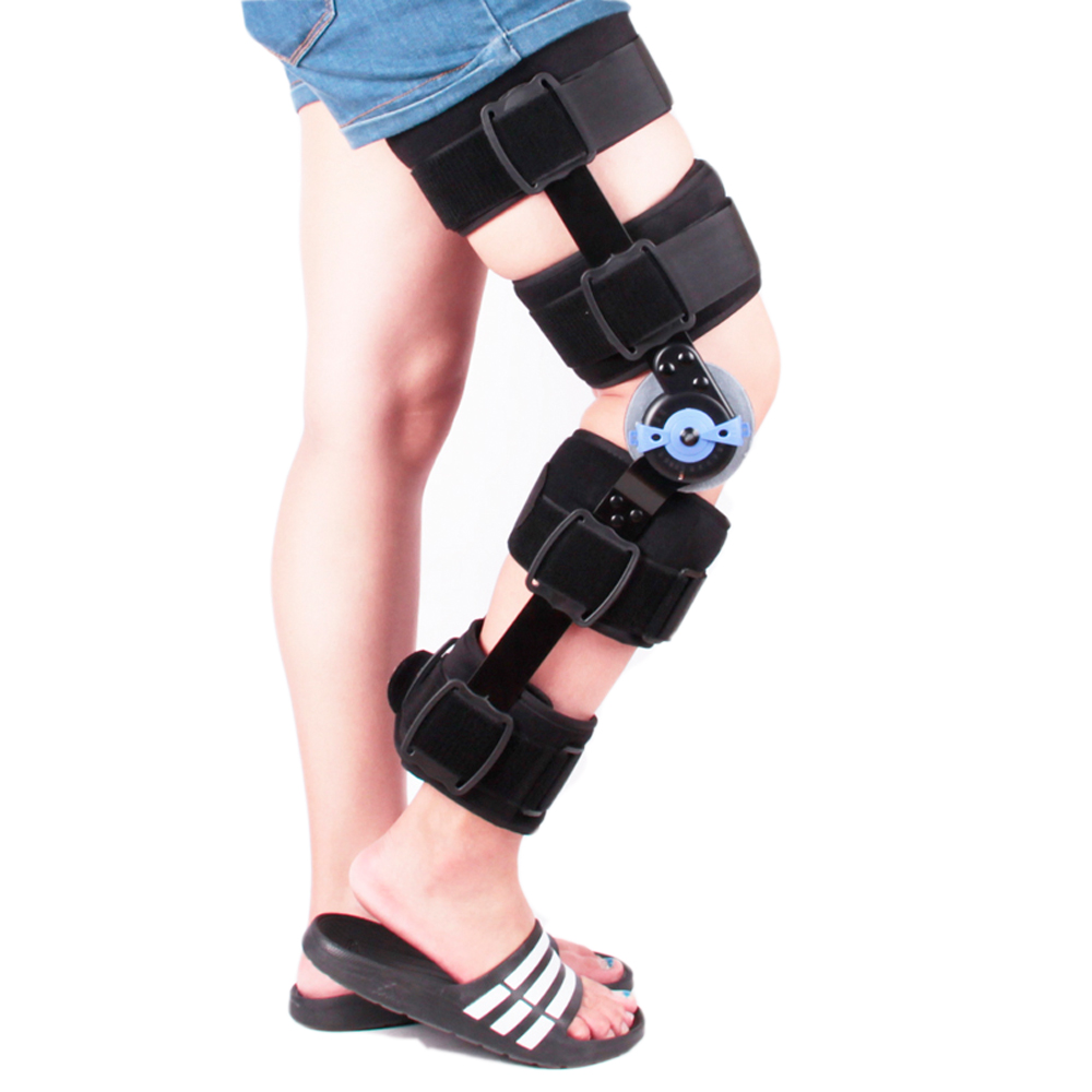 ROM Knee Brace With Cool Postoperative fixation Of Genual Fracture Knee Joint Adjustable Medical Hinged Support Ligament Strain adjustable knee joint meniscus knee rehabilitation equipment maintenance men and women with a fixed fractures knee ligament reco