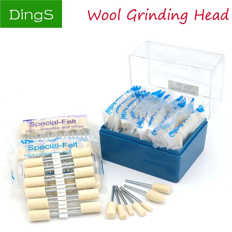 12pcs shank 2.35/3.0mm Wool Felt Polishing Buffing Wheel grinding head electric Metal Rotary Tools Surface Buffing Bits