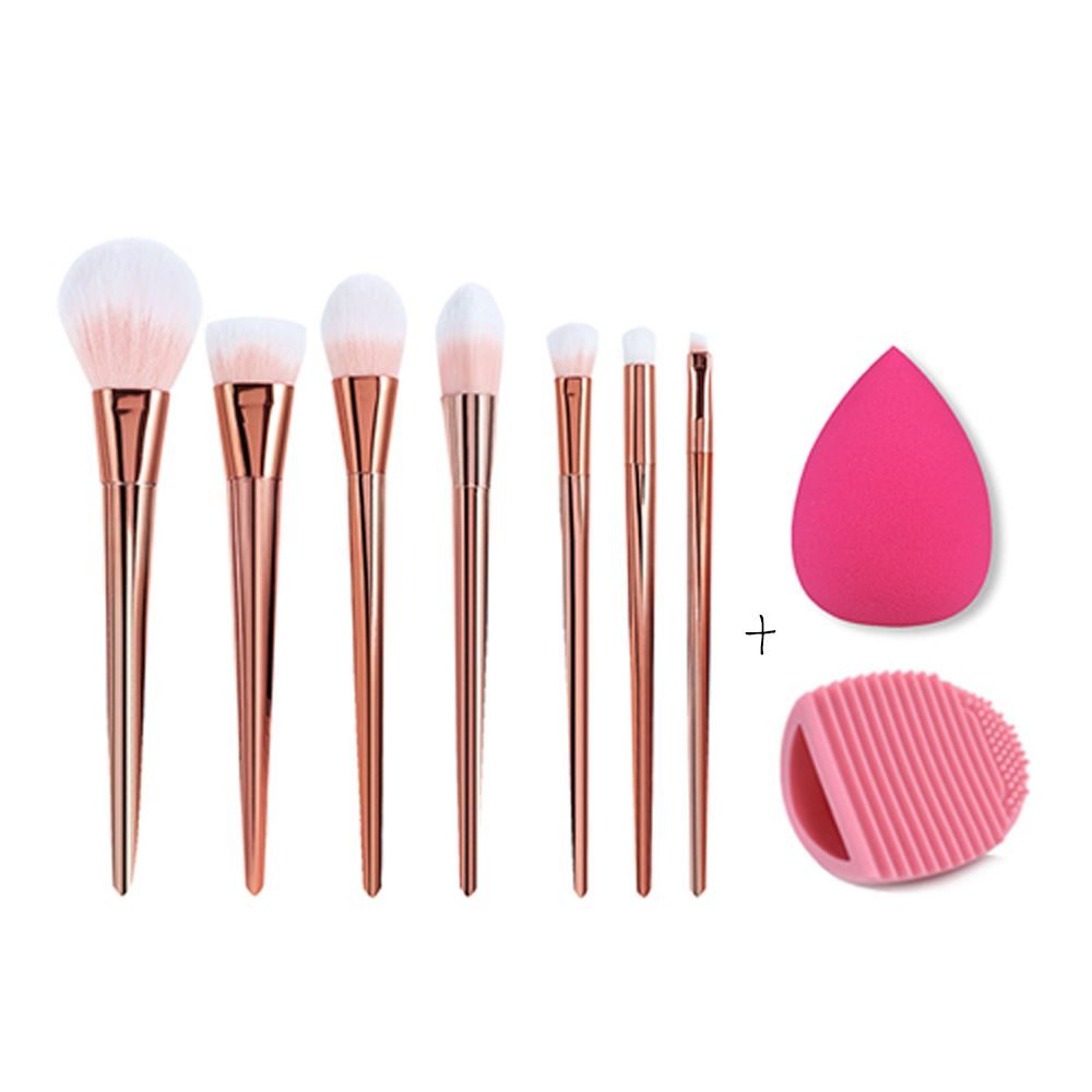 Rose Golden 7Pcs Makeup Brushes Set Foundation Powder Brush Eyeliner Eyeshadow Lip Brushes + Brush Cleaner Sponge Puff Cosmetic 24pcs makeup brushes set cosmetic make up tools set fan foundation powder brush eyeliner brushes leather case with pink puff