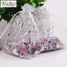 FENGRISE 100Pcs 7x9 9x12cm Wedding Favors and Gift Bag Organza Candy Valentines Day Drawstring Birthday Party