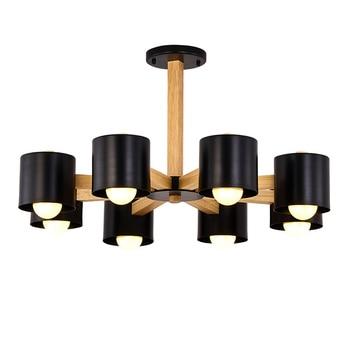 LED Macaron  chandelier Nordic macaron chandelier simple modern wood  chandelier lamp Japanese style solid wood bedroom lamp