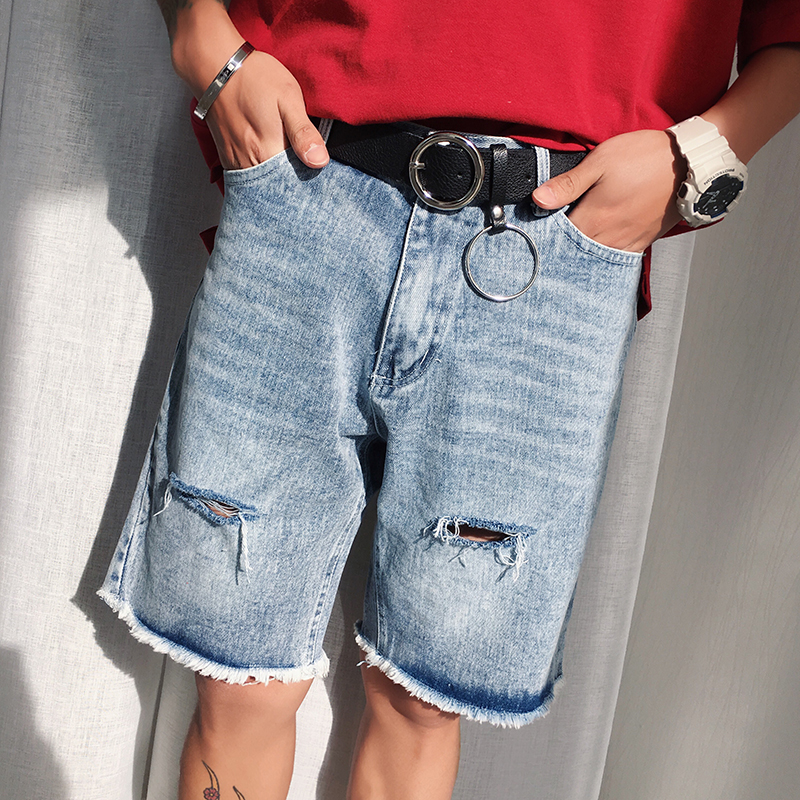 Summer Shorts Jeans Men Short Man Cotton Denim Shorts Men's Tide Ripped Fashion Short Homme