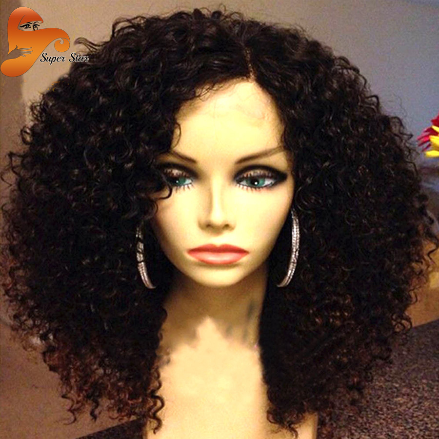 Unprocessed Mongolian Kinky Curly Human Hair Full Lace Wigs For Black Women  Front Lace Wigs Afro Kinky Curly Full Lace Wig Stock d28b04f2e6