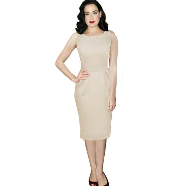 Sleeveless Hip Cotton Patchwork Elegant Cocktail Midi Dress Beige Color  European Size S M L XL L36033 a50716f85