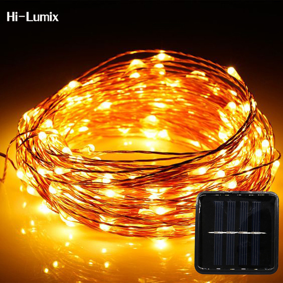 Hi-Lumix 20M 200leds Copper wire Solar led string light Waterproof Wire Rope Light <font><b>Outdoor</b></font> Landscape Patio Garden Camping Party