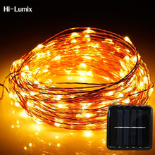 Hi-Lumix 20M 200leds Copper wire Solar led string light Waterproof Wire Rope Light Outdoor Landscape Patio Garden Camping Party
