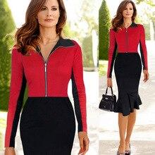 2016 New Work Office Summer /aututmn Sexy Women Dress Casual European Aliexpress Fashion Front Zipper Red Gray Color Dresses