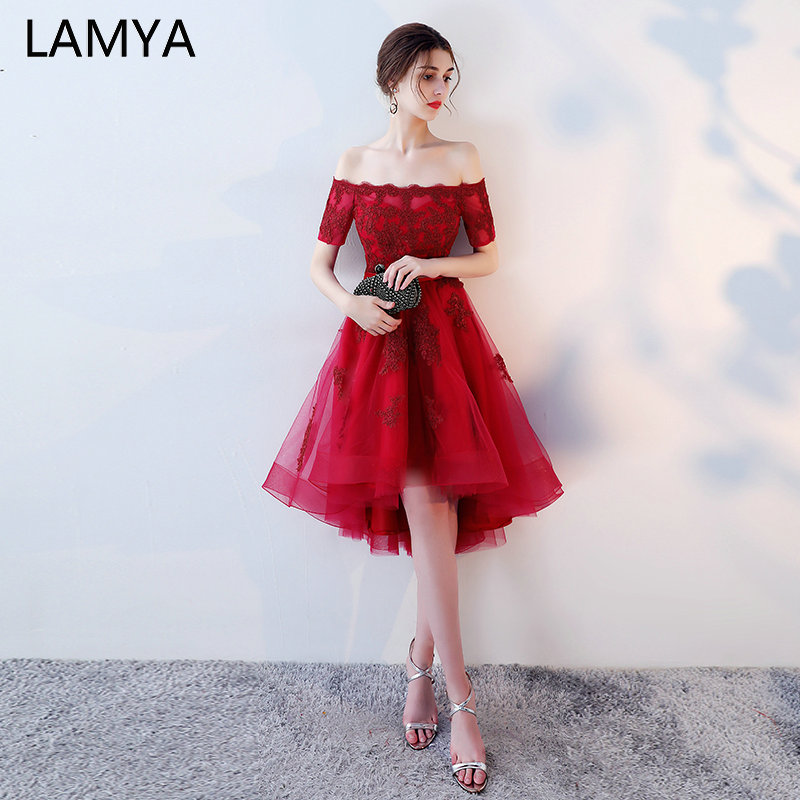 LAMYA Princess Short Front Long Back   Prom     Dresses   Sexy High Low Party   Dress   Elegant Lace Plus Size Formal Gown vestido de festa
