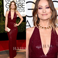 Maroon Sequins Mermaid Red Carpet Dresses 73th Golden Globe Awards Celebrity Dresses Olivia Wilde Sparkly Glitter Evening Gown