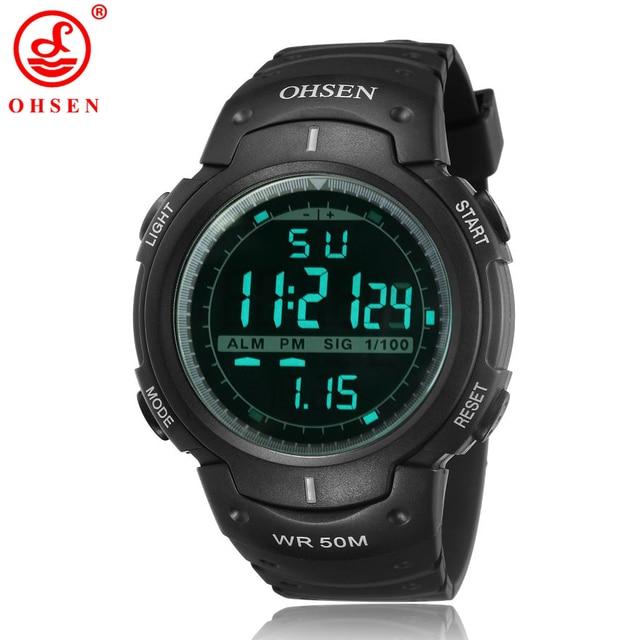 fbe78e4ecb1c OHSEN reloj militar hombres deportes LED relojes digitales moda negro  silicona impermeable cronógrafo reloj alarma para
