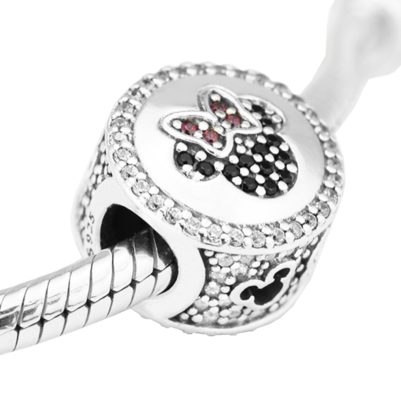 Fits For Pandora Bracelets Mouse Icon Charms with Red Black and Clear Cubic Zirconia 100% Sterling Silver Beads Free Shipping