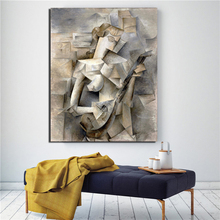 Pablo Picasso Girl With A Mandolin Canvas Painting Posters Prints Marble Wall Art Painting Decorative Picture Modern Home Decor k word gold mandolin chrome tailpiece with 3pcs screws plate with k decorative pattern for mandolin replacement