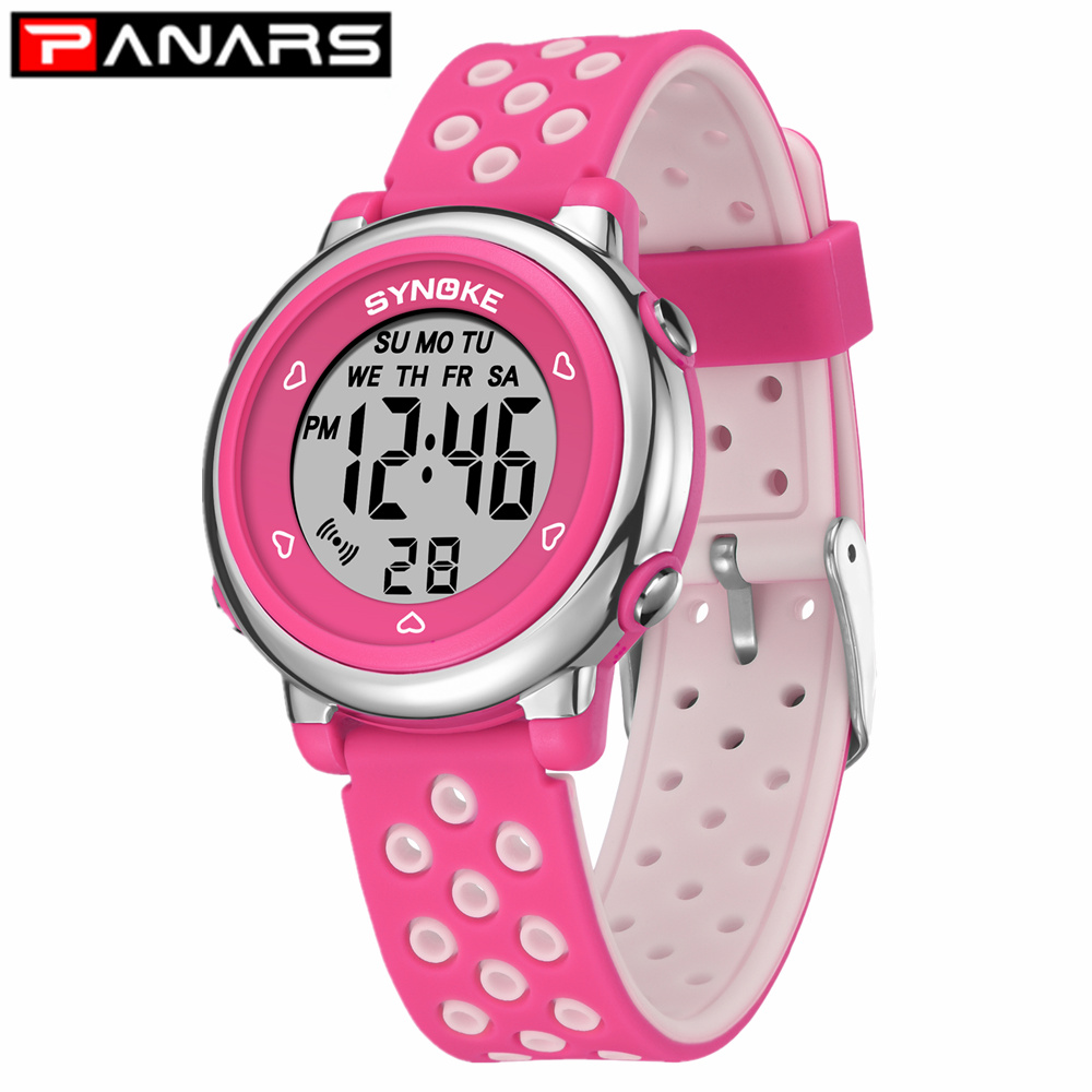 PANARS 2019 Kids Colorful Fashion Children's Watches Hollow Out Band Waterproof Alarm Clock Multi-function Watches For Students