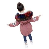 Rlyaeiz Winter Jackets For Girls 2018 Fashion Warm Thick Girls Winter Coat High Quality Fur Collar Embroidery Sleeve Parka Coats