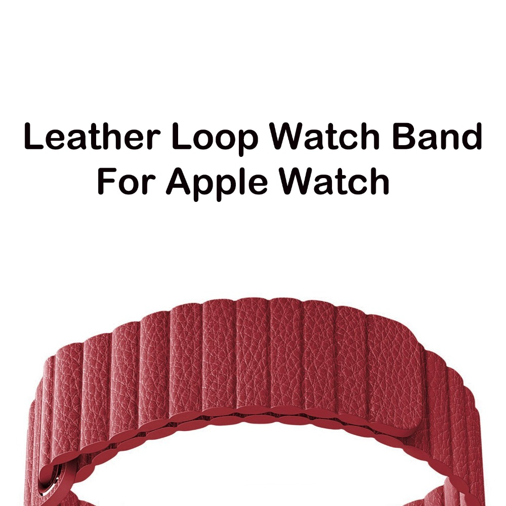 Midnight Blue Magnetic Genuine Leather Loop Band For Apple Watch Band 42 mm 38 mm Series 1 2 3 strap bracelet Closure Loop