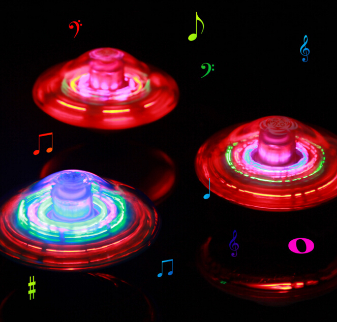 Music Gyro Peg-Top Spinning Top Funny Kids Toy Classic UFO Gyroscope Laser Color Flash LED Light Children's Day Gift(China)