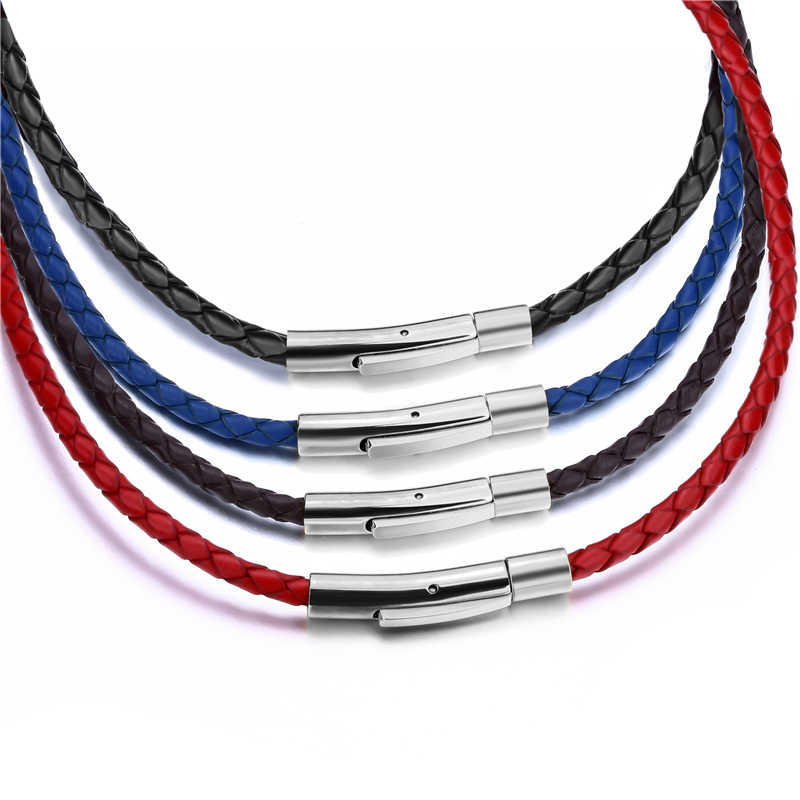 3mm Mens Womens Black/Red/Blue/Brown Braided Genuine Leather Cord Silver Stainless Steel Secure Clasp Necklace Chain 40-75cm