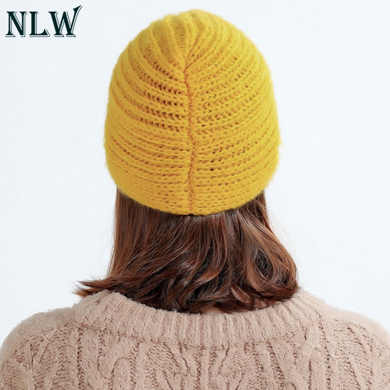 NLW 2018 Winter hats Women off White Knitted Beanie Female Warm Yellow Caps  Streetwear Gorros Mujer Invierno 80e0cd1c449