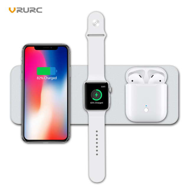 low priced 82196 929a0 Vrurc 3 in 1 Qi Wireless Charger For iPhone X Xs 8 Plus For Apple ...