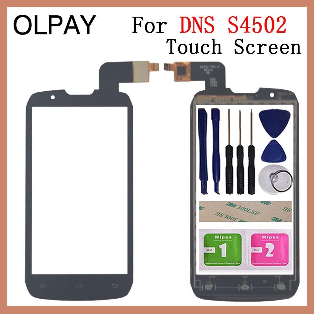 OLPAY 4.3'' Mobile Phone For DNS S4502 S4502M Touch Screen Glass Digitizer Panel Lens Sensor Tools Free Adhesive+Wipes