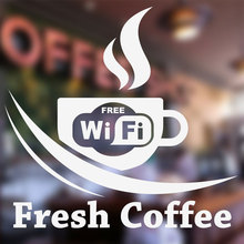 Free Wifi Cup Coffee Shop Vinyl Sticker Window Decal , Cafe Bar Sign Fresh Door Murals 3W01