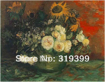 Linen Canvas Oil Painting reproduction, Bowl with Sunflowers Roses and Other Flowers  by vincent van gogh,100% handmade
