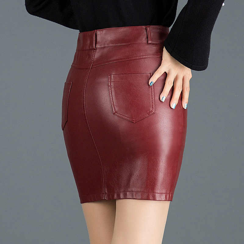 Elegant PU Leather Skirt Women Fashion Casual Sexy Mini Skirt Zipper High Waist Plus Size Pencil Skirts 2019 Summer Clothing