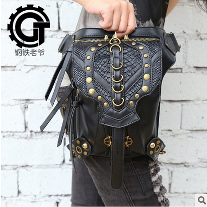 carteras mujer Steam punk bag thigh Motor leg Outlaw Pack Holster Protected Purse Shoulder Backpack Purse PU leather men pack 2018 new women waist bag pu leather steam punk holster drop protected purse shoulder carteras unisex retro rock motor leg bag
