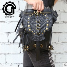 carteras mujer Steam punk bag thigh Motor leg Outlaw Pack Holster Protected Purse Shoulder Backpack Purse PU leather men pack